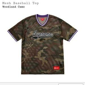 Supreme woodland camo mesh baseball top jersey